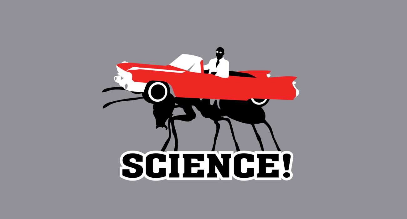 A scientist pimping it on his ant powered Cadillac