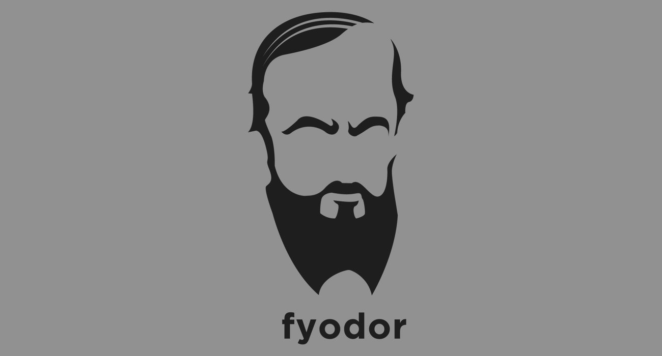 A t-shirt with a minimalist hair based illustration of Fyodor Dostoyevsky: Russian author whose works explore human psychology in the context of the troubled political, social, and spiritual atmosphere of 19th-century Russia