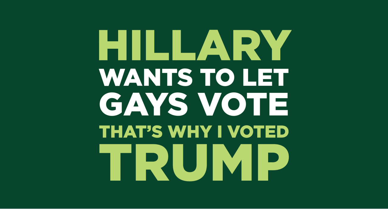 Hillary wants to let gays vote, that's why I'm voting tea party