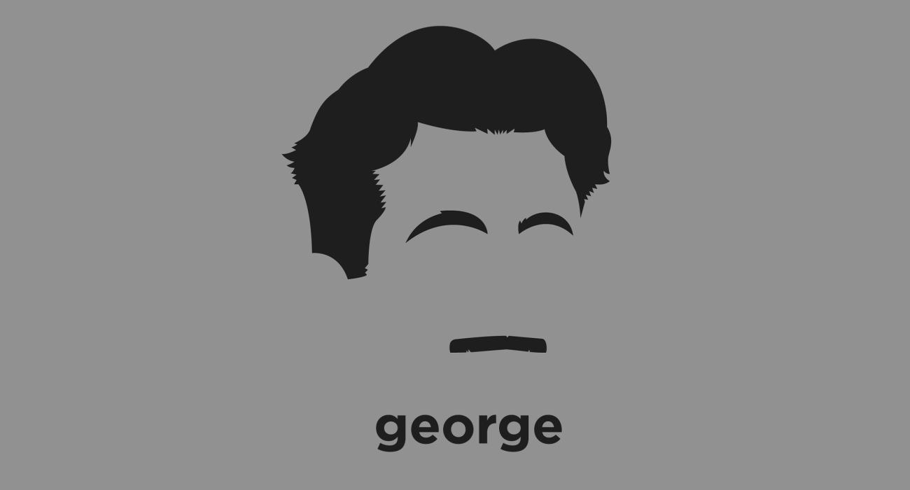 A t-shirt with a minimalist hair based illustration of  George Orwell: English novelist, essayist, journalist and critic. His work is marked by lucid prose, awareness of social injustice, opposition to totalitarianism.