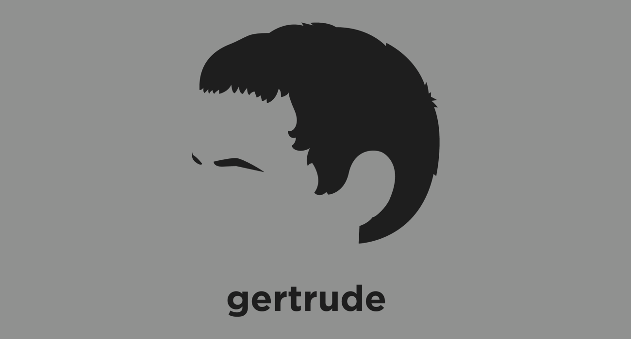 A t-shirt with a minimalist hair based illustration of  Gertrude Stein: American author that eschewed the narrative, linear, and temporal conventions of 19th-century literature, and a fervent collector of Modernist art