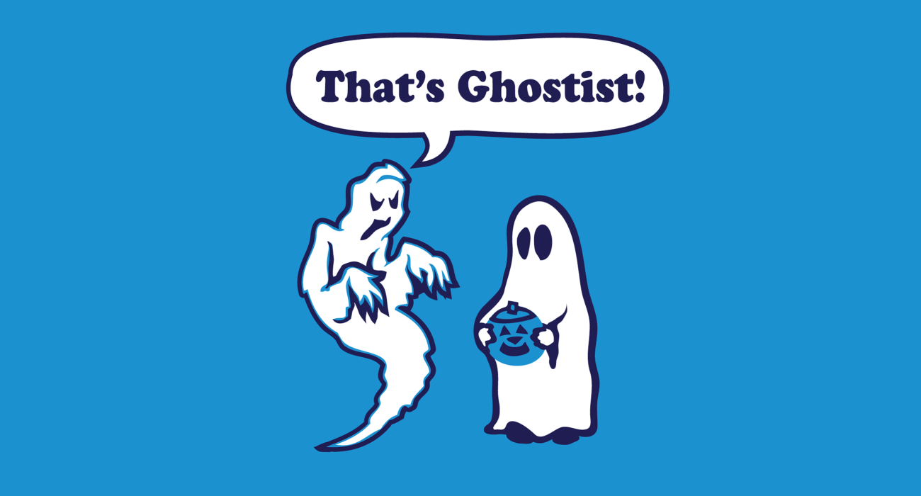 A ghost apparently quite offended by the spectral stereotype perpetuated by a 'trick or treating' child