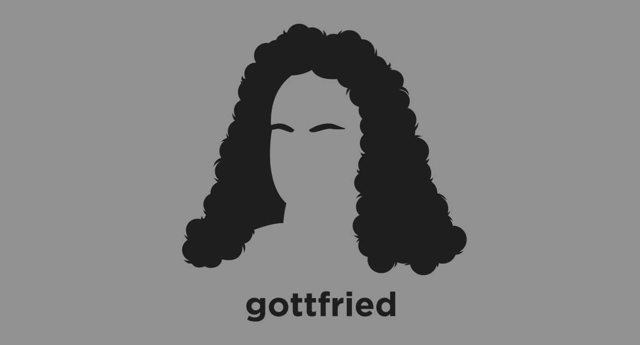 A t-shirt with a minimalist hair based illustration of Gottfried Leibniz: a polymath who developed calculus independently of Isaac Newton, refined the binary number system (the foundation of digital computers), and was one of the three great 17th-century advocates of the philosophy of rationalism.