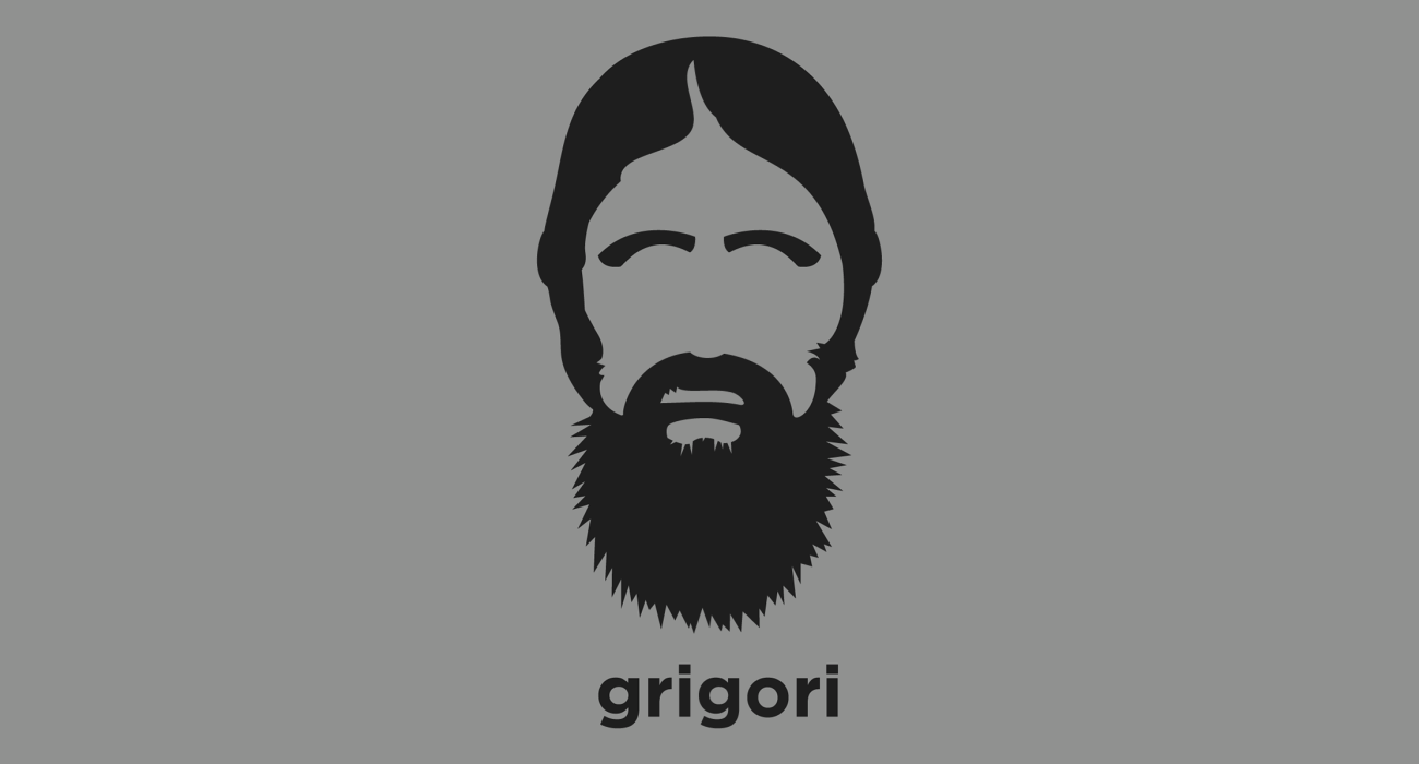 A t-shirt with a minimalist hair based illustration of Grigori Rasputin: Russian mystic and advisor to the Russian imperial family viewed variously as a saintly healer and prophet, or debauched sex fiend and religious charlatan