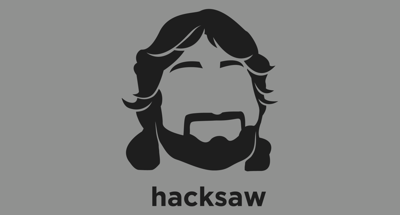 A t-shirt with a minimalist hair based illustration of  Hacksaw Jim Duggan: professional wrestler whose best known character is that of an American patriot, which sees him use a 2x4 length of wood as a weapon