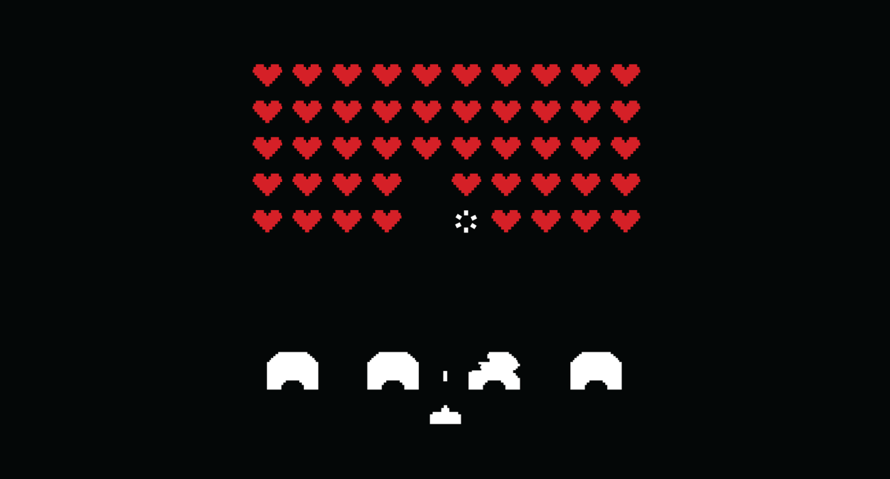 A classic scene from the game Space Invaders  but instead of alien attack ships to be blasted it's hearts. Take that romance!'