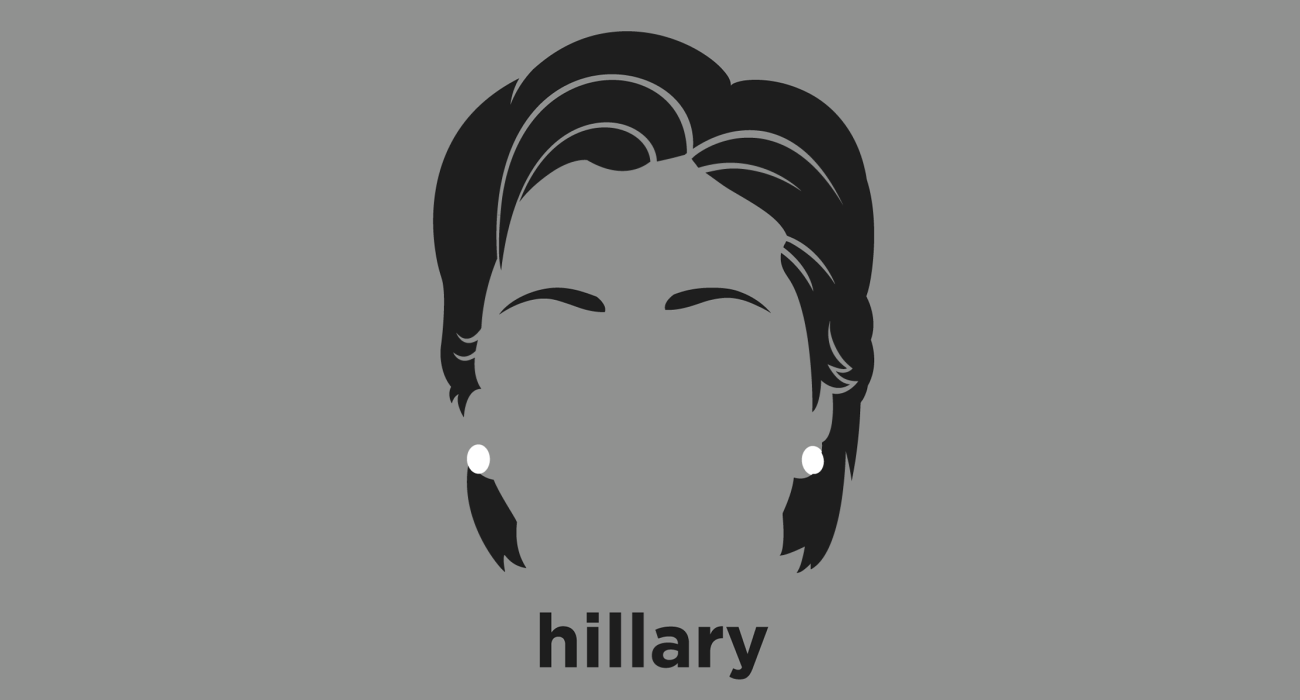 A t-shirt with a minimalist hair based illustration of  Hillary Rodham Clinton: American politician, Secretary of State, New York senator, and future president of the United States