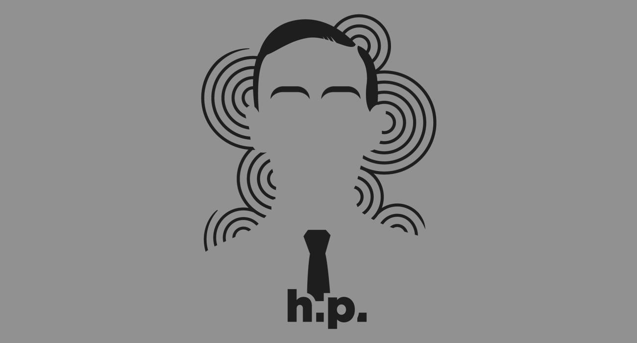 A t-shirt with a minimalist hair based illustration of H. P. Lovecraft: American author best known for his Cthulhu Mythos, and his influential body of work in the genre of 'cosmic horror'