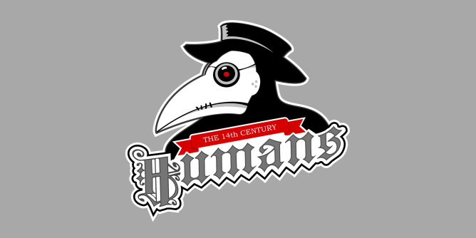 A fake team logo t-shirt featuring  A fashion forward medieval human decked out in a plague doctor's outfit (love the crazy bird beak styling) in a futile effort to ward off the Black Death