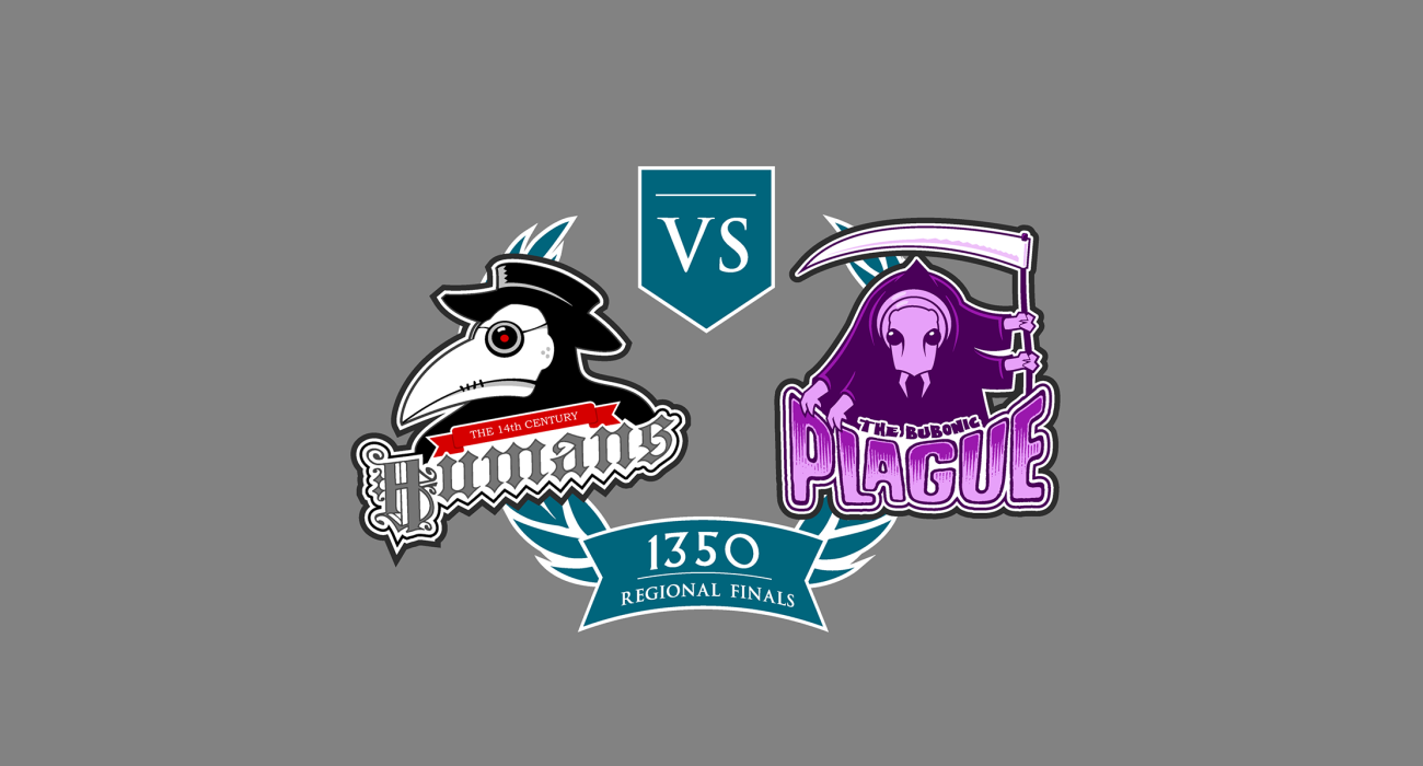 A fake team logo t-shirt featuring  A Plague Doctor vs a Grim Reaper styled flea to symbolize the titanic struggle between the 14th century humans and the bubonic plague