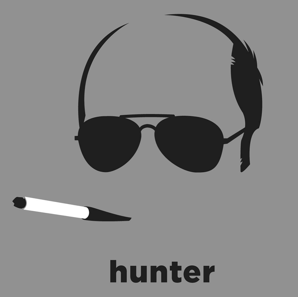 7541a99304b A t-shirt with a minimalist hair based illustration of Hunter S. Thompson