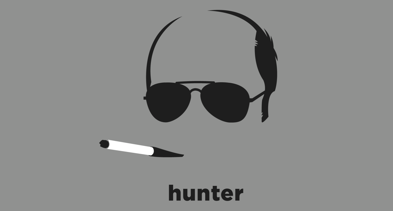A t-shirt with a minimalist hair based illustration of Hunter S. Thompson: American gonzo journalist and author and counter cultural figure best known for his 'Gonzo' style journalism and heavy drug use