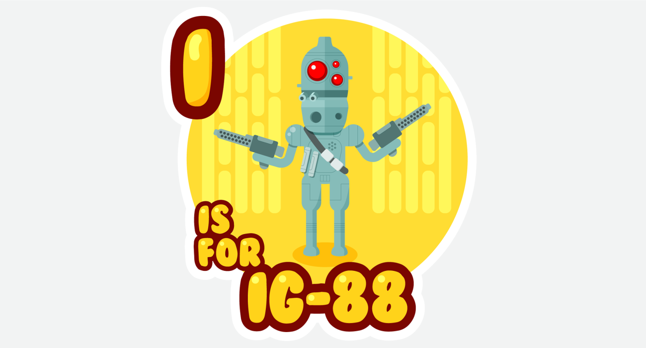 An kid's ABC book style illustration for IG-88 the cutest lil' bounty hunter droid on the deck of the Death Star getting orders to hunt down that jerky-werky rebel Han Solo