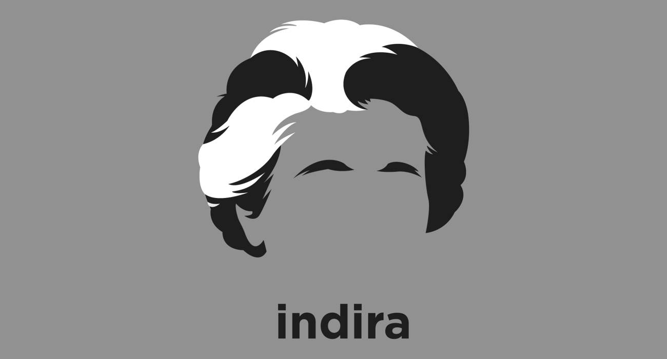 A t-shirt with a minimalist hair based illustration of  Indira Gandhi: the first female Prime Minister of India and central figure of the Indian National Congress party, until her assassination in 1984