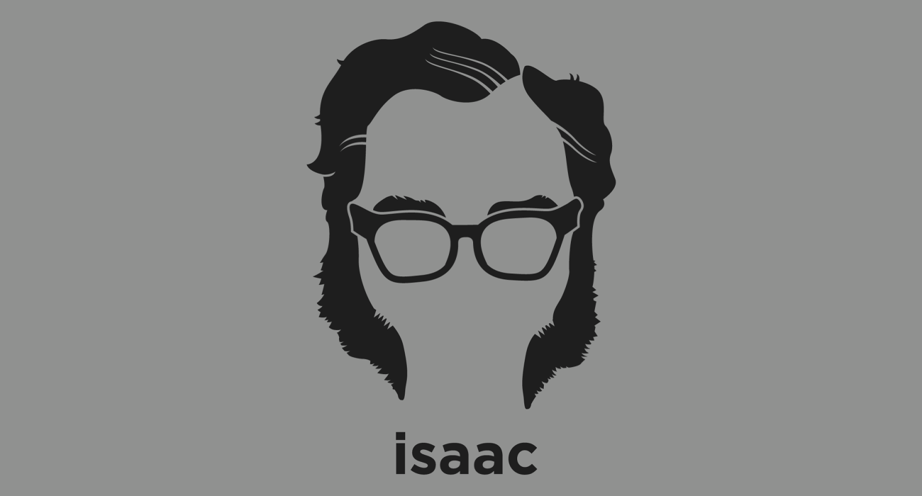 A t-shirt with a minimalist hair based illustration of Isaac Asimov: author and professor of biochemistry at Boston University, best known for his works of science fiction and for his popular science books