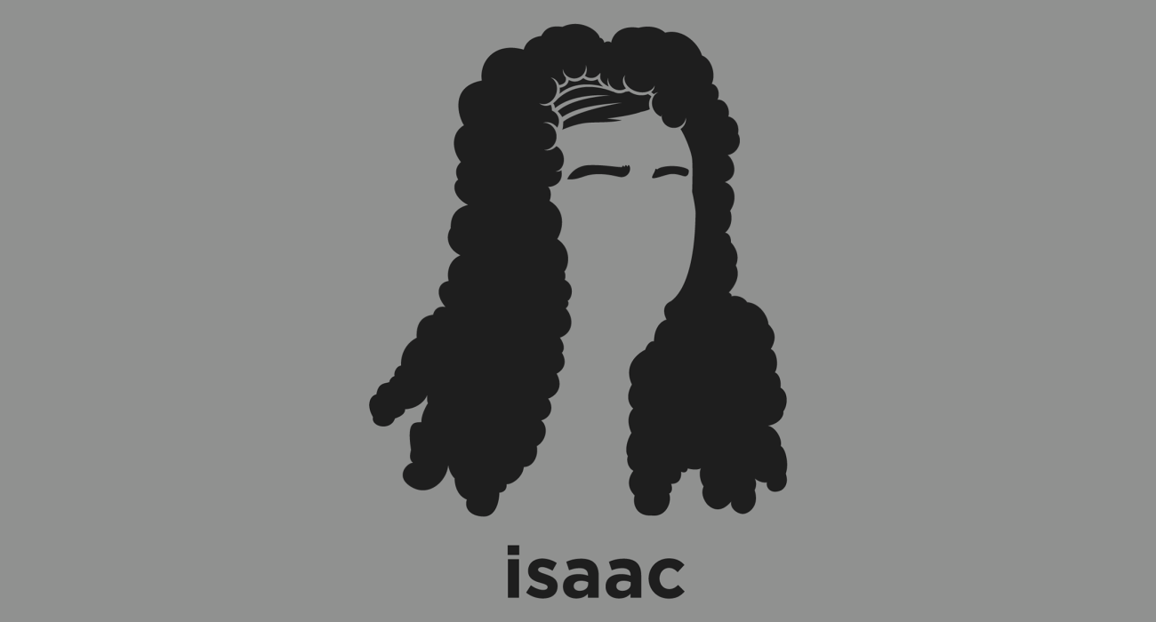 A t-shirt with a minimalist hair based illustration of Isaac Newton: physicist and mathematician who is widely regarded as one of the most influential scientists of all time and as a key figure in the scientific revolution
