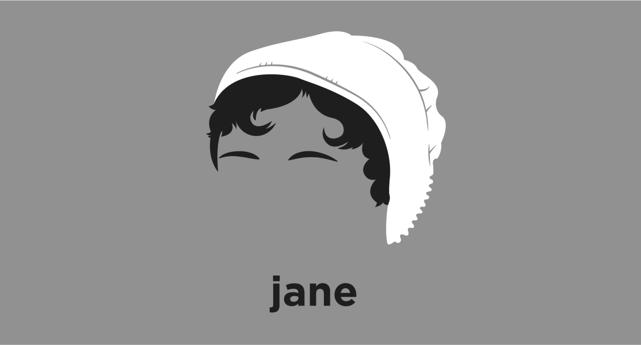 A t-shirt with a minimalist hair based illustration of Jane Austen: English novelist known primarily for her six major novels, which interpret, critique and comment upon the British landed gentry at the end of the 18th century.