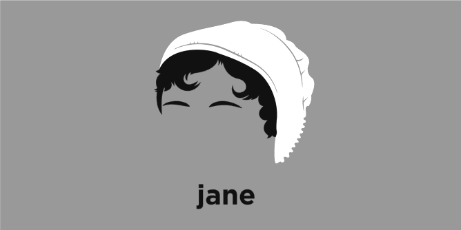 A t-shirt with a minimalist hair based illustration of Jane Austen