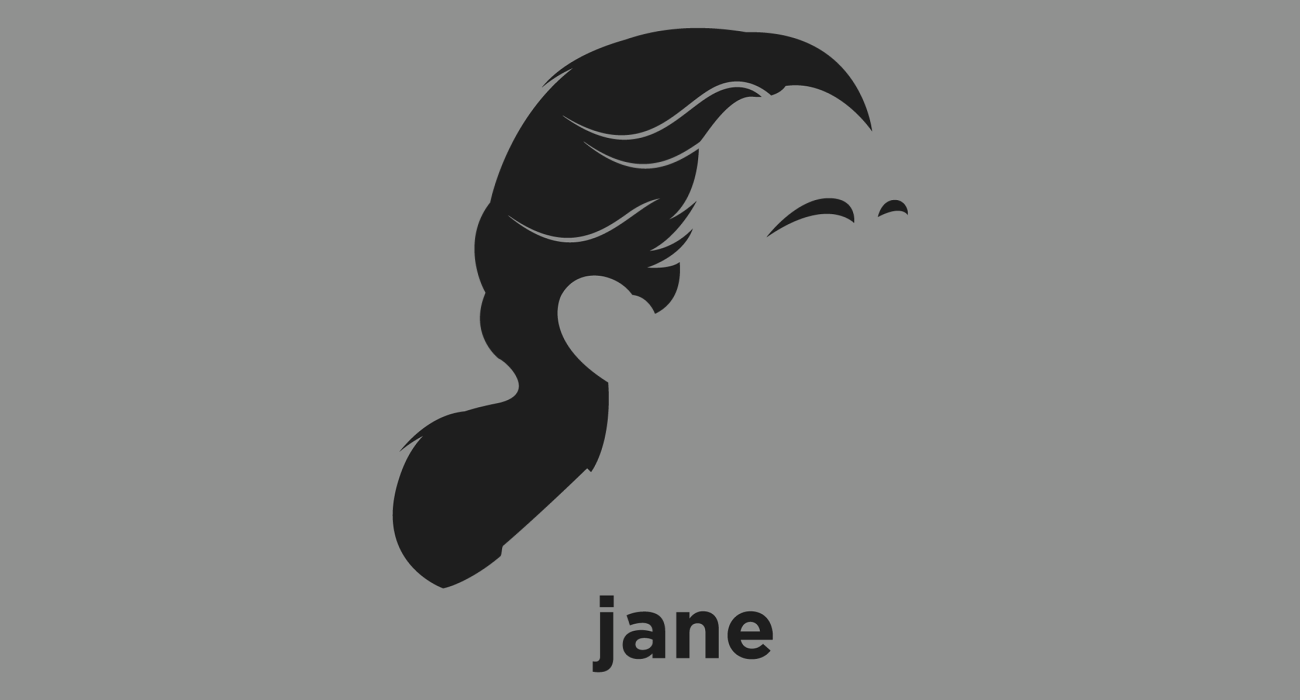 A t-shirt with a minimalist hair based illustration of Jane Goodall: British primatologist best known for her 45-year study of social interactions of wild chimpanzees, considered to be their foremost expert