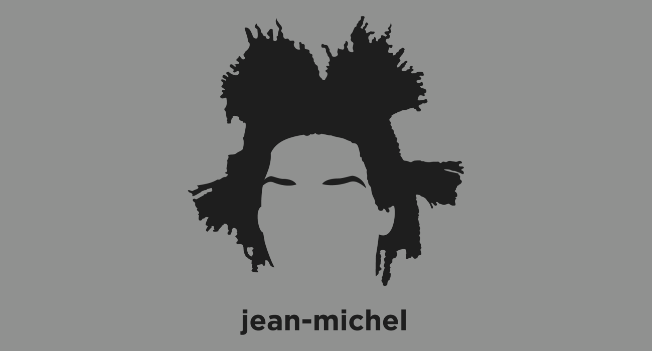 A t-shirt with a minimalist hair based illustration of  Jean-Michel Basquiat: one of the most important American artists of the 20th century who first achieved notoriety as part of the graffiti duo SAMO