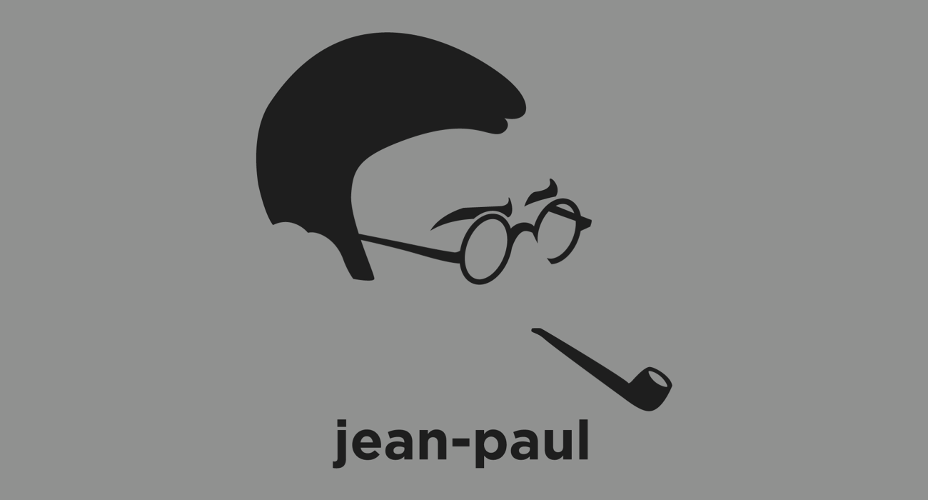 A t-shirt with a minimalist hair based illustration of Jean-Paul Sartre: French philosopher and one of the key figures in the philosophy of existentialism, and one of the leading figures in 20th-century French philosophy and Marxism