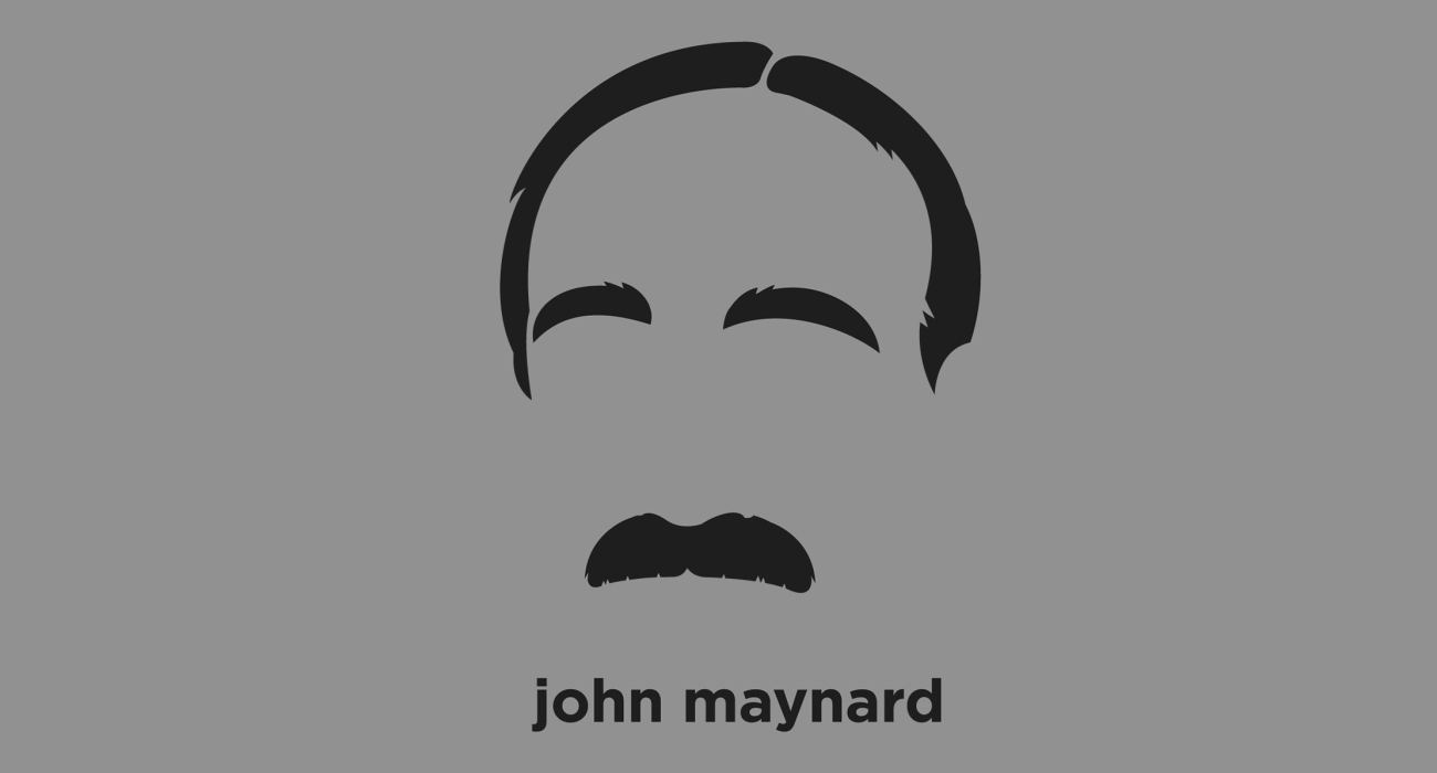 A t-shirt with a minimalist hair based illustration of John Maynard Keynes: economist whose ideas have fundamentally affected the theory and practice of modern macroeconomics, and informed the economic policies of governments