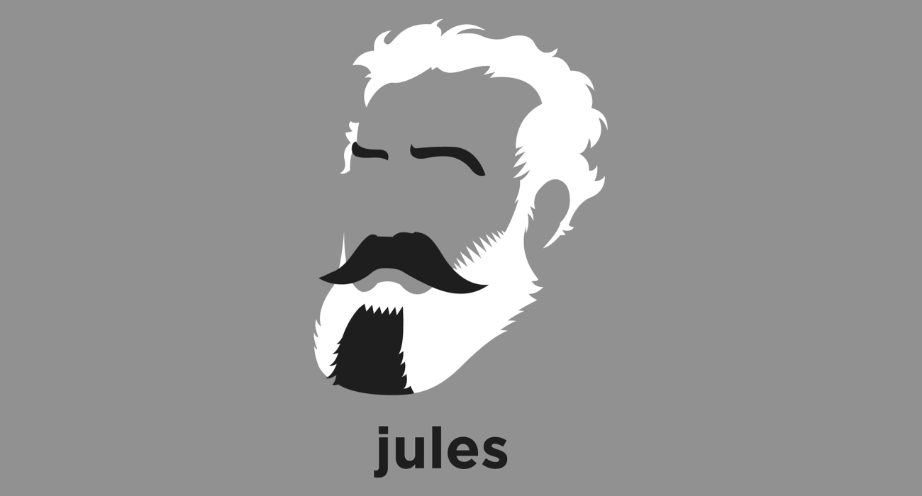 A t-shirt with a minimalist hair based illustration of Jules Verne: French novelist best known for his widely popular adventure novels including Journey to the Center of the Earth, 20,000 Leagues Under the Sea, and Around the World in 80 Days