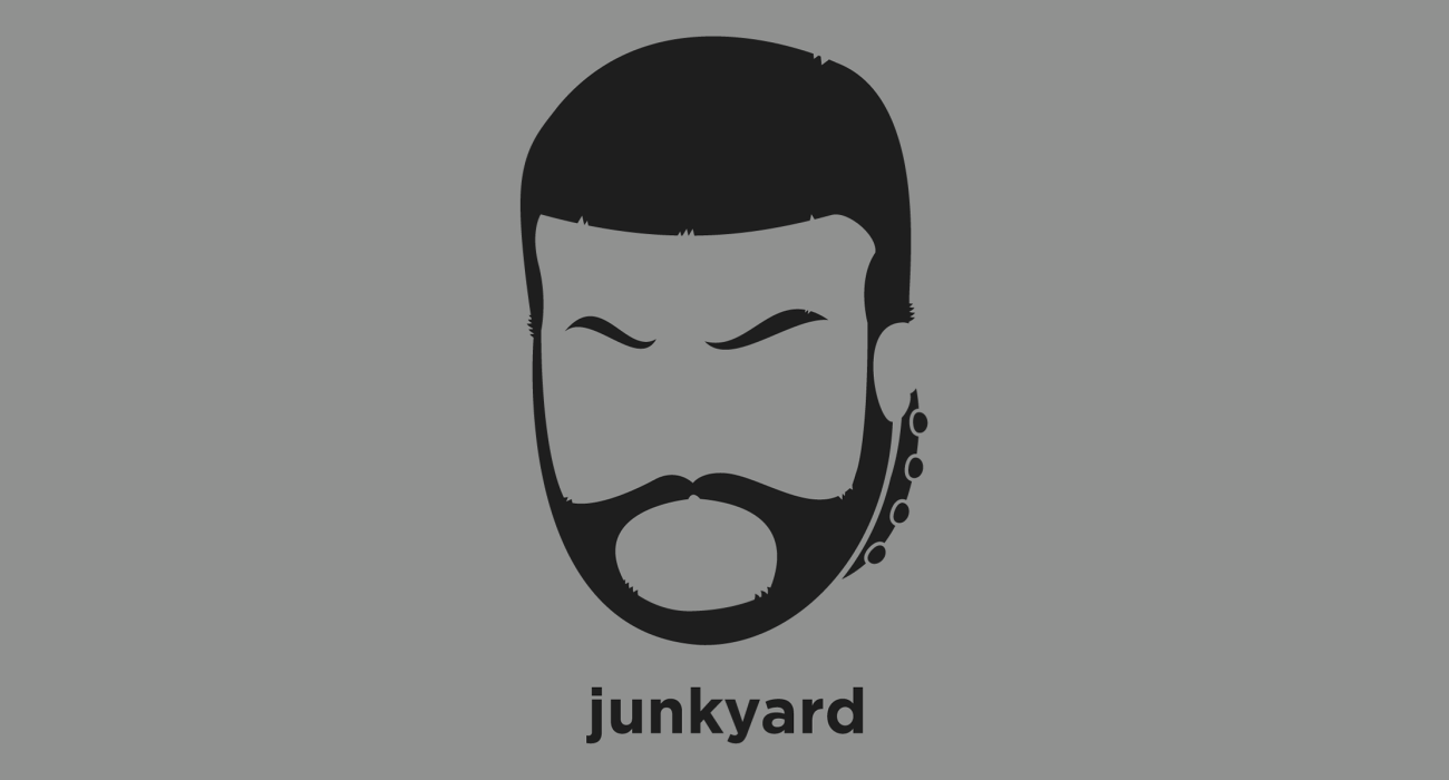 A t-shirt with a minimalist hair based illustration of Junkyard Dog: American professional wrestler and professional football player, best known for his work in Mid-South Wrestling and the World Wrestling Federation