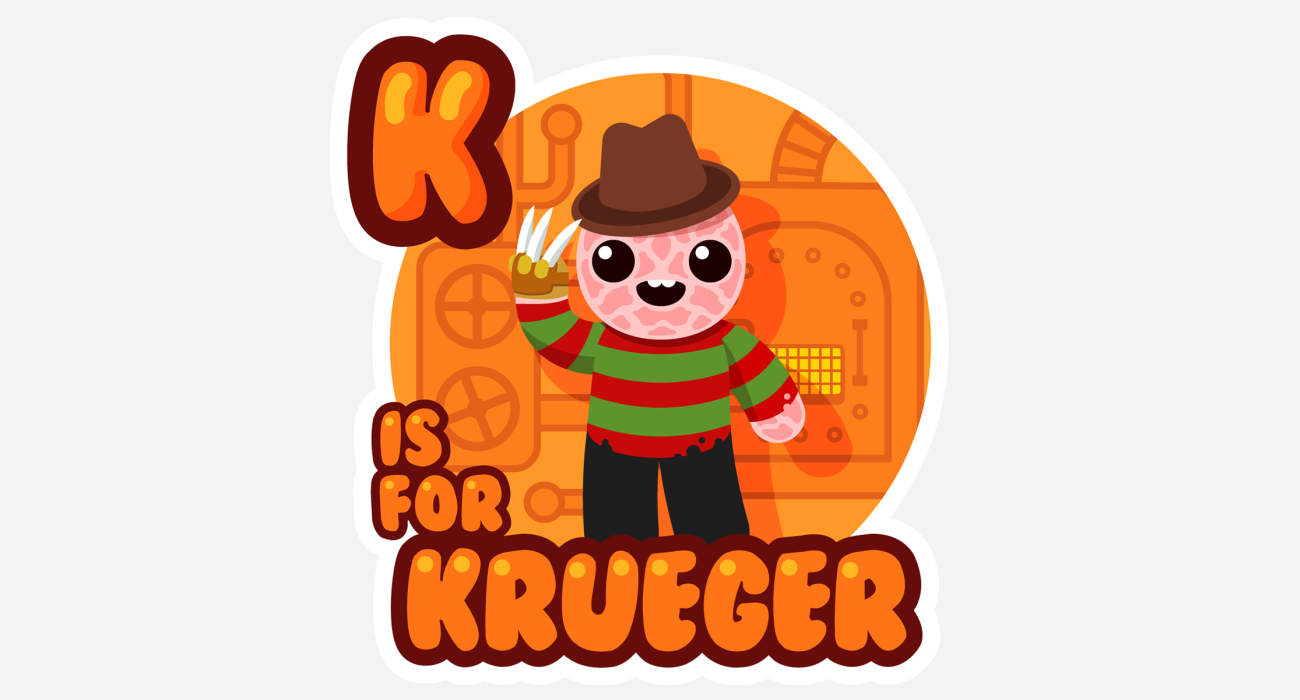An kid's ABC book style illustration for An adorable Freddy Kruger, with just the cutest lil' burn scars having fun down in his boiler room playing with his favorite toy, his claw glove!