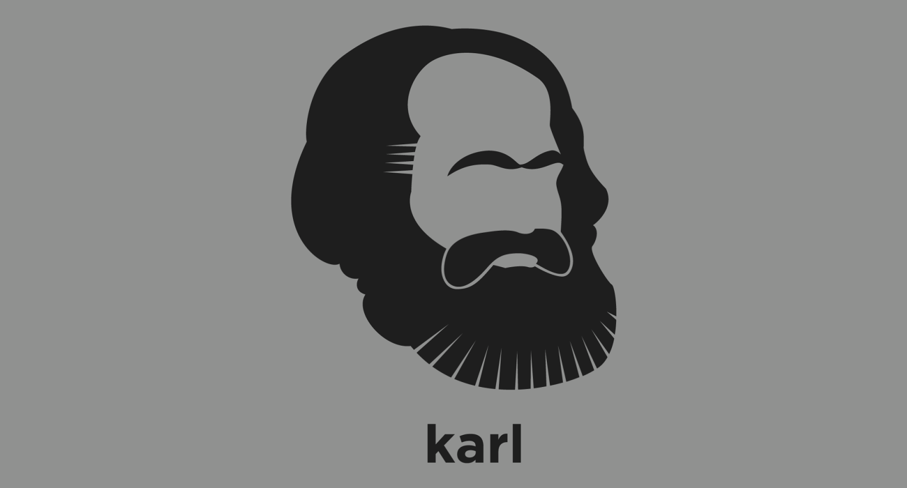 A t-shirt with a minimalist hair based illustration of Karl Marx: German philosopher, and revolutionary socialist whose work in economics, and book Das Kapital, laid the basis for the current understanding of labour and its relation to capital