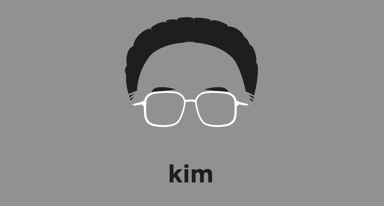 A t-shirt with a minimalist hair based illustration of Kim Jong-il: supreme leader of North Korea from 1994 until his death in 2011, during which time his leadership proved more authoritarian, and militaristic than his father's Kim il-Sung.