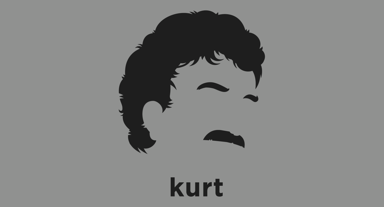 A t-shirt with a minimalist hair based illustration of Kurt Vonnegut: American writer whose works such as Cat's Cradle, Slaughterhouse-Five, and Breakfast of Champions blend satire, gallows humor, and science fiction