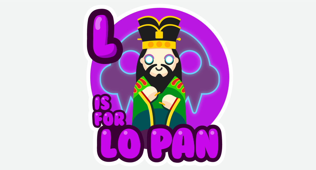 An kid's ABC book style illustration for Just the cutest lil' cursed ancient chinese wizard, Lo Pan, hoping to get a green eyed girl over for a sleepover