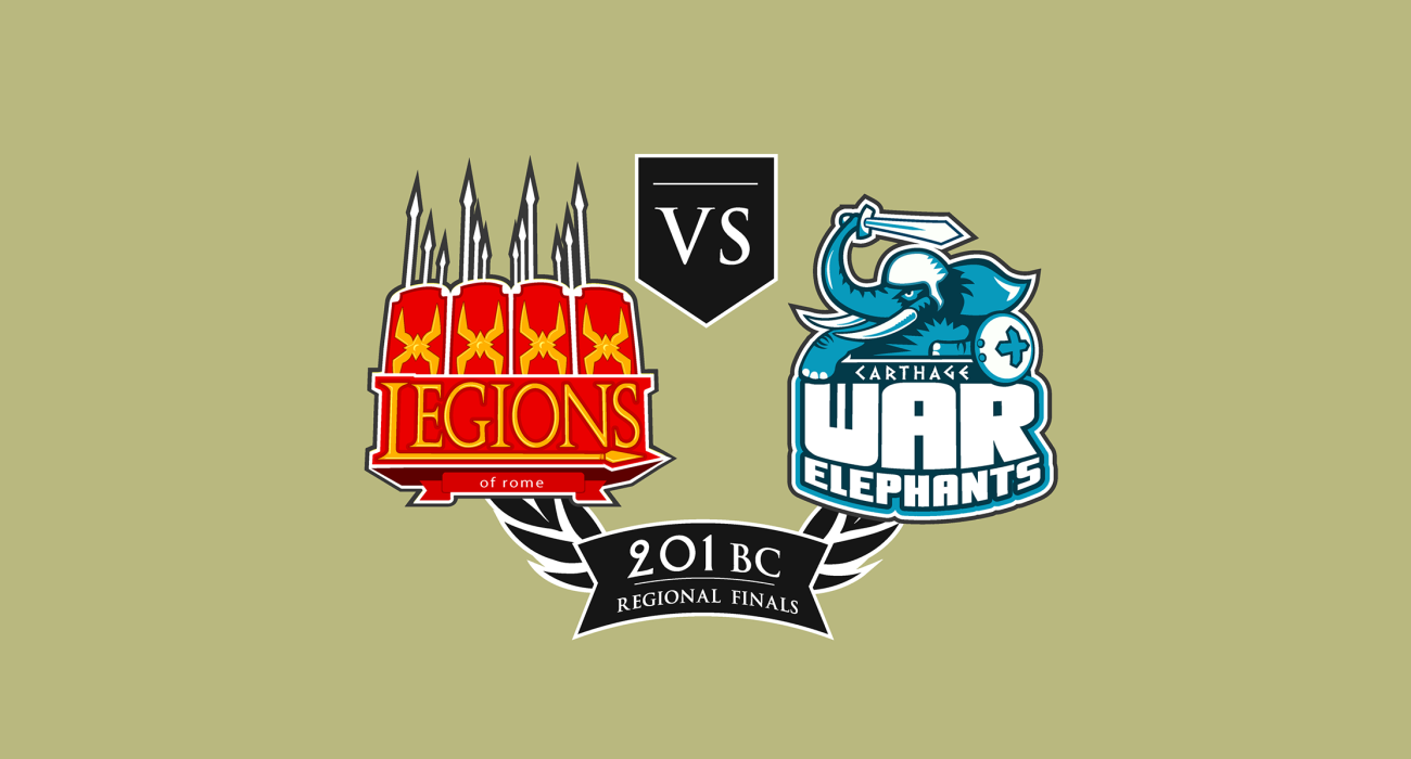 A fake team logo t-shirt featuring  The Legions of Rome vs Hannibal's War Elephants, a nod to the 2nd Punic War where Hannibal crossed the alps, kicked ass, but Carthage eventually lost the war