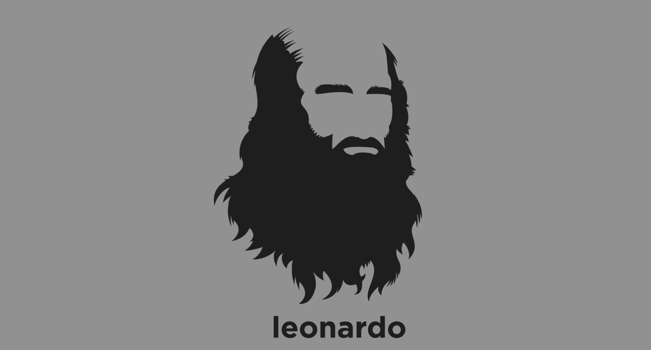 A t-shirt with a minimalist hair based illustration of  Leonardo da Vinci: was an Italian Renaissance polymath whose genius, perhaps more than that of any other figure, epitomized the Renaissance humanist ideal