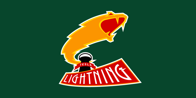 A fake team logo t-shirt featuring  A lightning bolt snake monster thingy blasting its way out of  Wardenclyffe Tower, one of Nikola Tesla's many unfinished projects