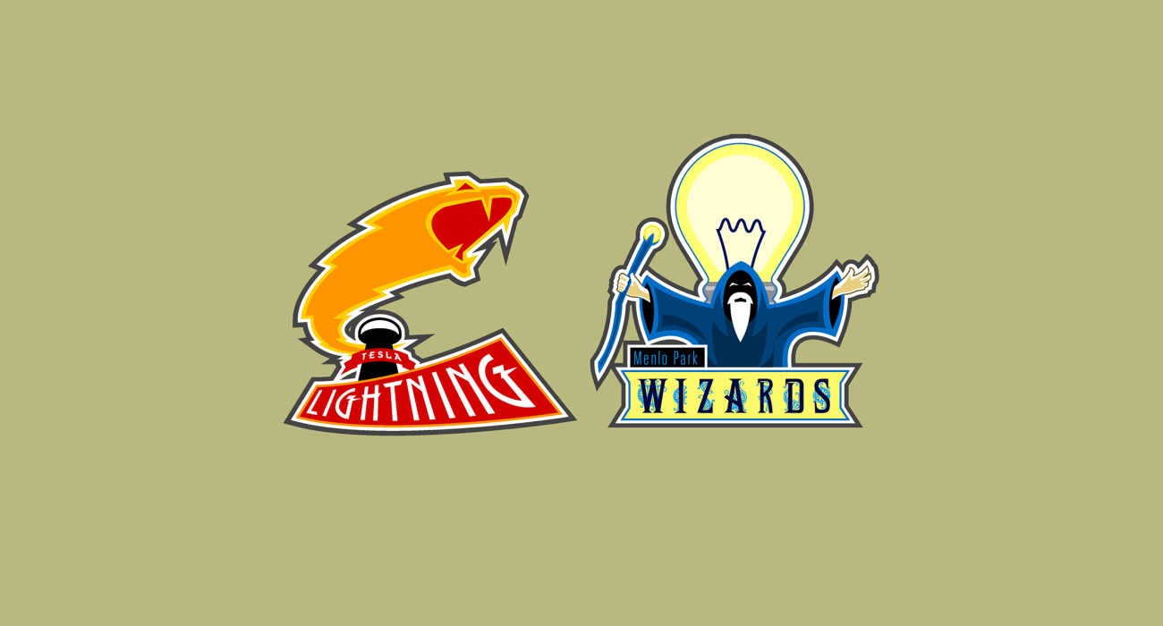 A fake team logo t-shirt featuring  A Tesla Lightning vs A Wizard of Menlo Park representing the War of Currents (AC vs DC power) in the late 1880s
