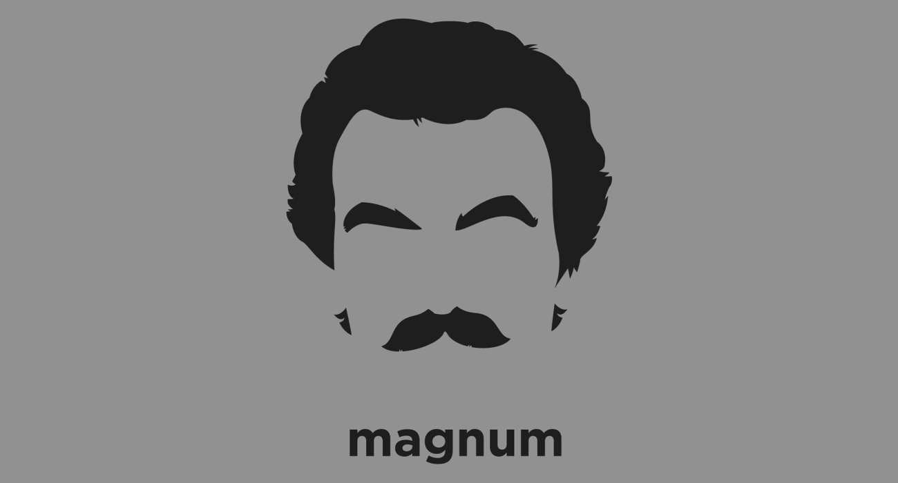 A t-shirt with a minimalist hair based illustration of Thomas Sullivan Magnum: Hawaiian P.I. with a penchant for sports, Ferraris, and Old Düsseldorf beer in a long-neck bottle