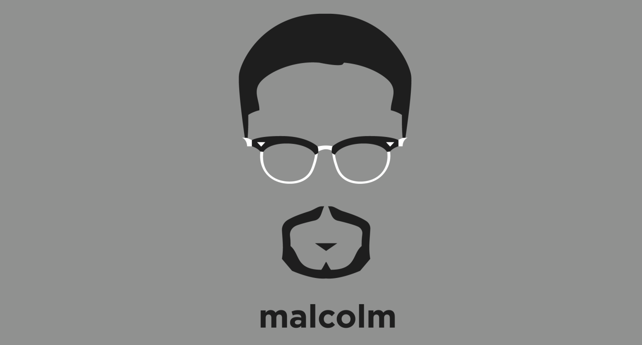 A t-shirt with a minimalist hair based illustration of Malcolm X: controversial civil rights activist that called attention to white America's crimes against African Americans, promoted black supremacy, and advocated the separation of black and white Americans