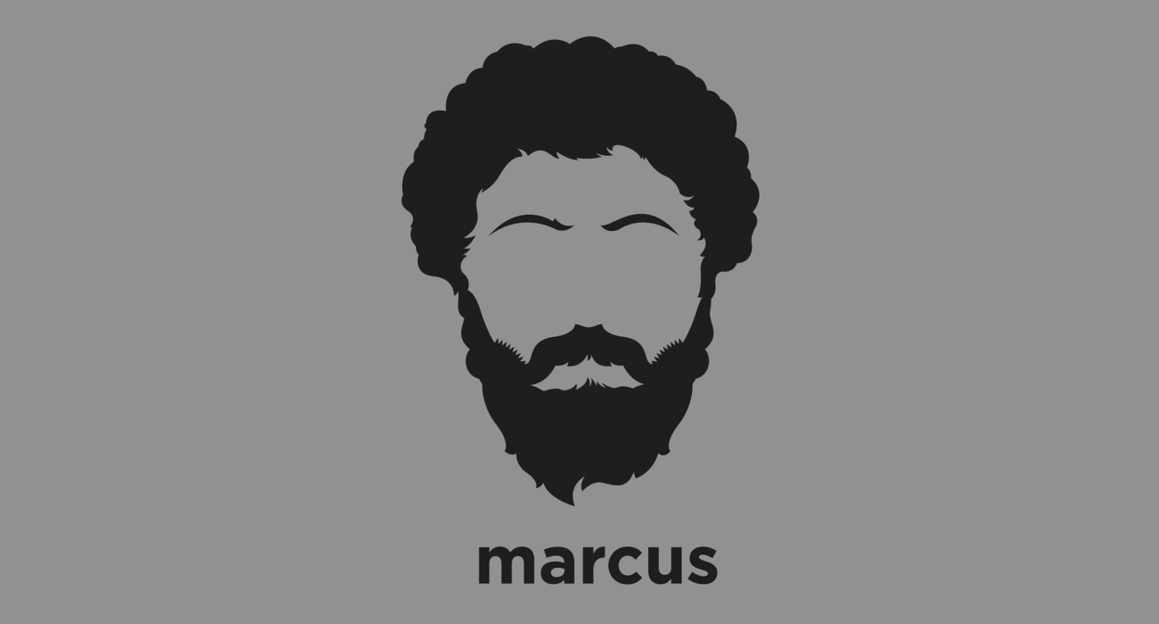 A t-shirt with a minimalist hair based illustration of  Marcus Aurelius: 'Good' Roman Emperor who's 'Meditations of Marcus Aurelius', is the most significant source of our modern understanding of ancient Stoic philosophy