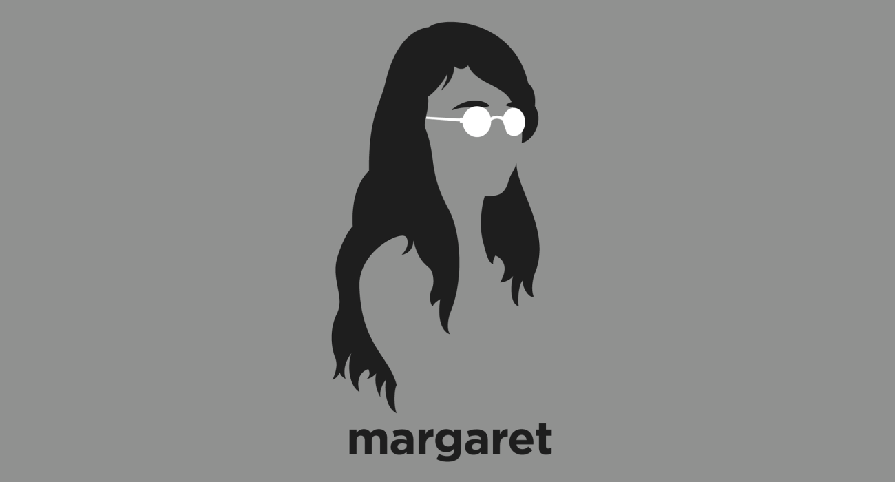 A t-shirt with a minimalist hair based illustration of Margaret Hamilton: the computer scientist who has been awarded the Presidential Medal of Freedom for her work leading the development of on-board flight software for NASA's Apollo Moon missions.