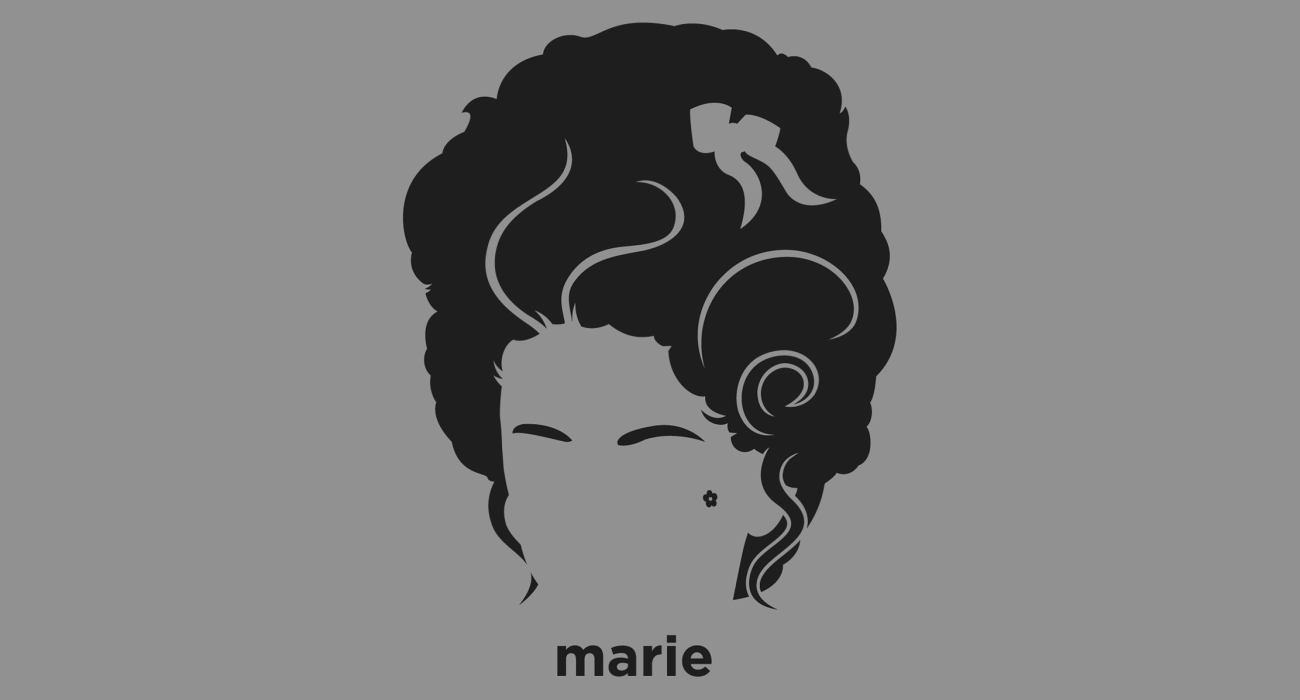 A t-shirt with a minimalist hair based illustration of Marie Antoinette: Queen of France 1774 to 1792 who was tried, convicted of treason during the French revolution and executed by guillotine