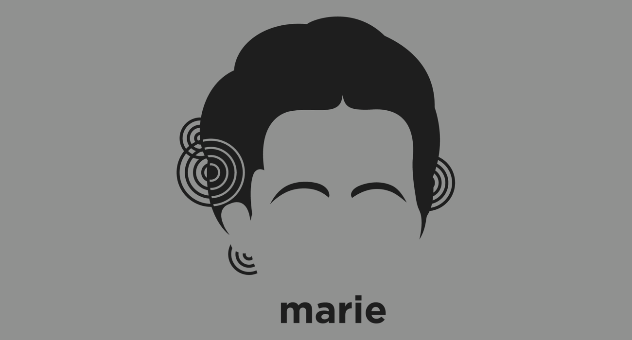 A t-shirt with a minimalist hair based illustration of Marie Curie: physicist and chemist, famous for her pioneering research on radioactivity (a term that she coined), and the discovery of polonium and radium