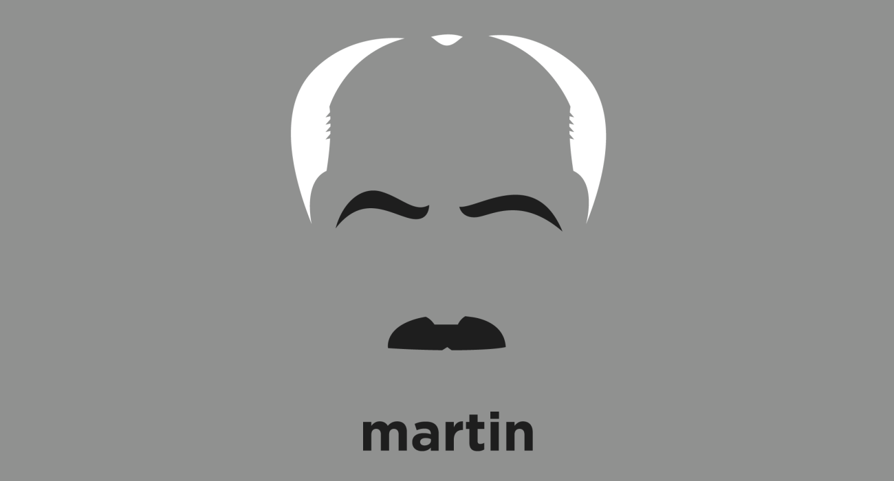 A t-shirt with a minimalist hair based illustration of Martin Heidegger: German philosopher and a seminal thinker in the Continental tradition and philosophical hermeneutics best known for his contributions to phenomenology and existentialism