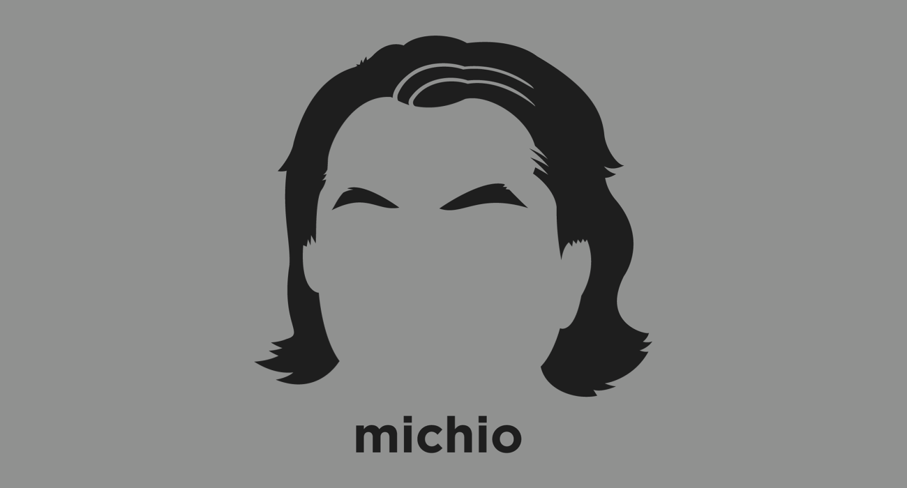 A t-shirt with a minimalist hair based illustration of  Michio Kaku: American theoretical physicist, futurist, and a communicator and popularizer of science making frequent appearances on radio, television, and film