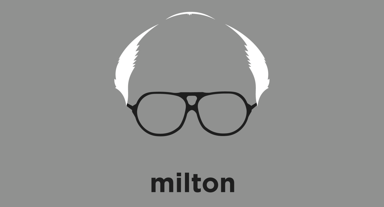 A t-shirt with a minimalist hair based illustration of Milton Friedman: Nobel prize winning economist, whose work resisting keynesian economics made him one of the most influential economic thinkers of the 20th century.