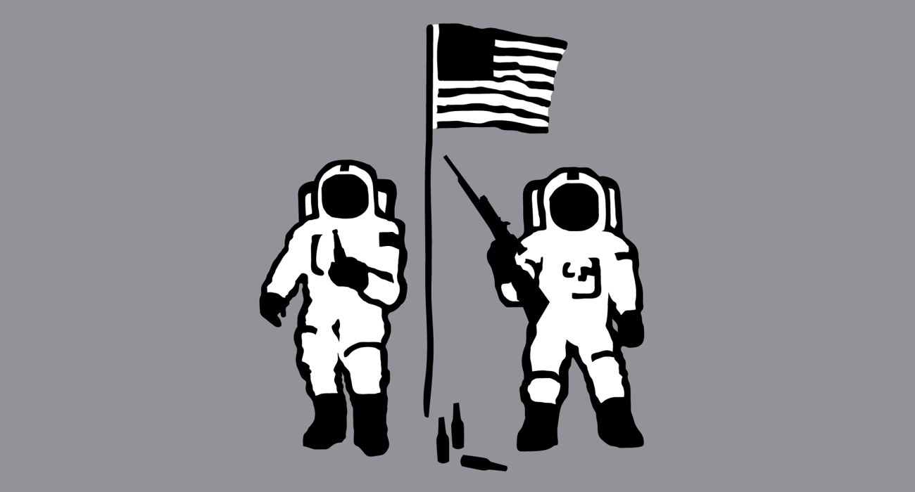 A pair of hillbilly spacemen armed with guns and sloshing beers while protecting the flag we planted on the moon presumably from illegal Mexican space immigrants