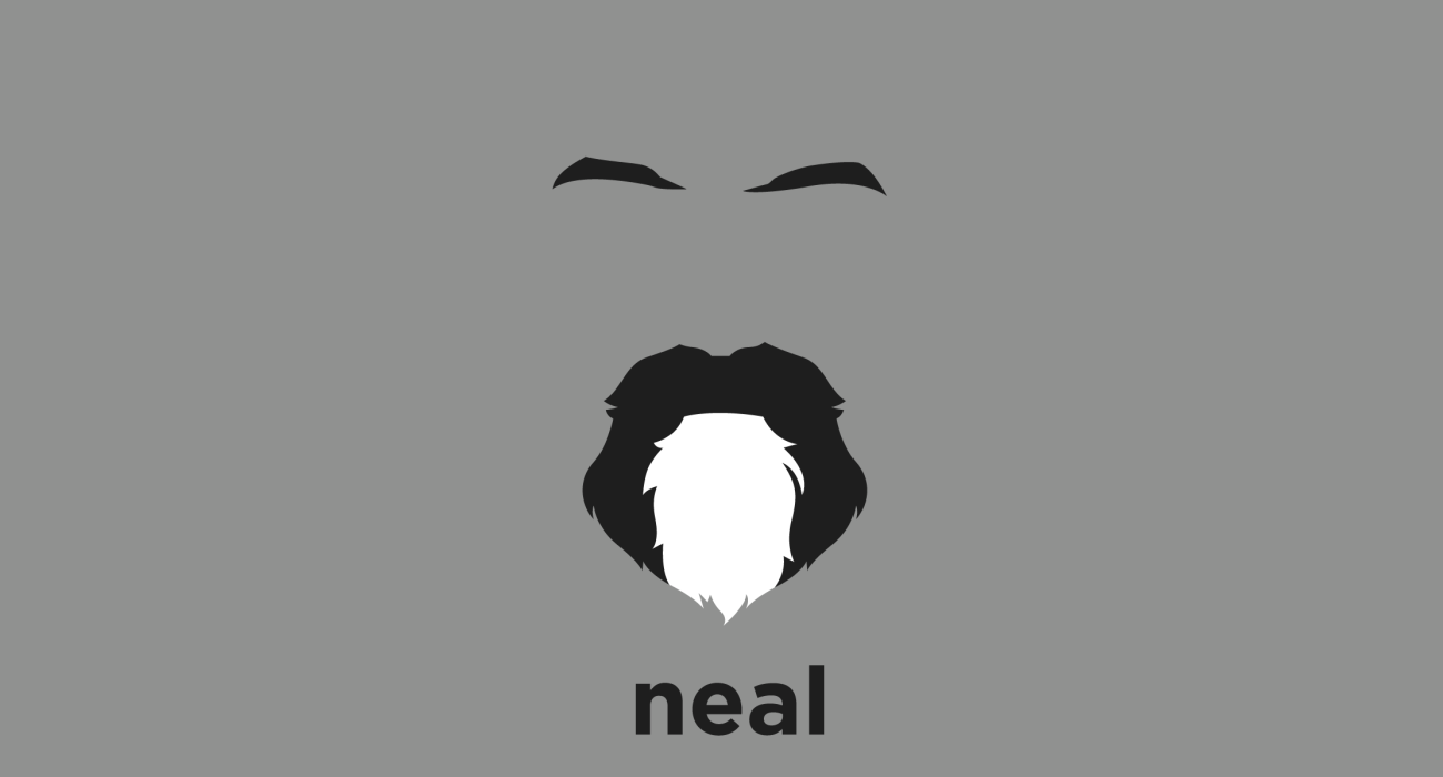 A t-shirt with a minimalist hair based illustration of Neal Stephenson: Speculative fiction author who's work explores subjects such as mathematics, cryptography, linguistics, philosophy, currency, and the history of science.