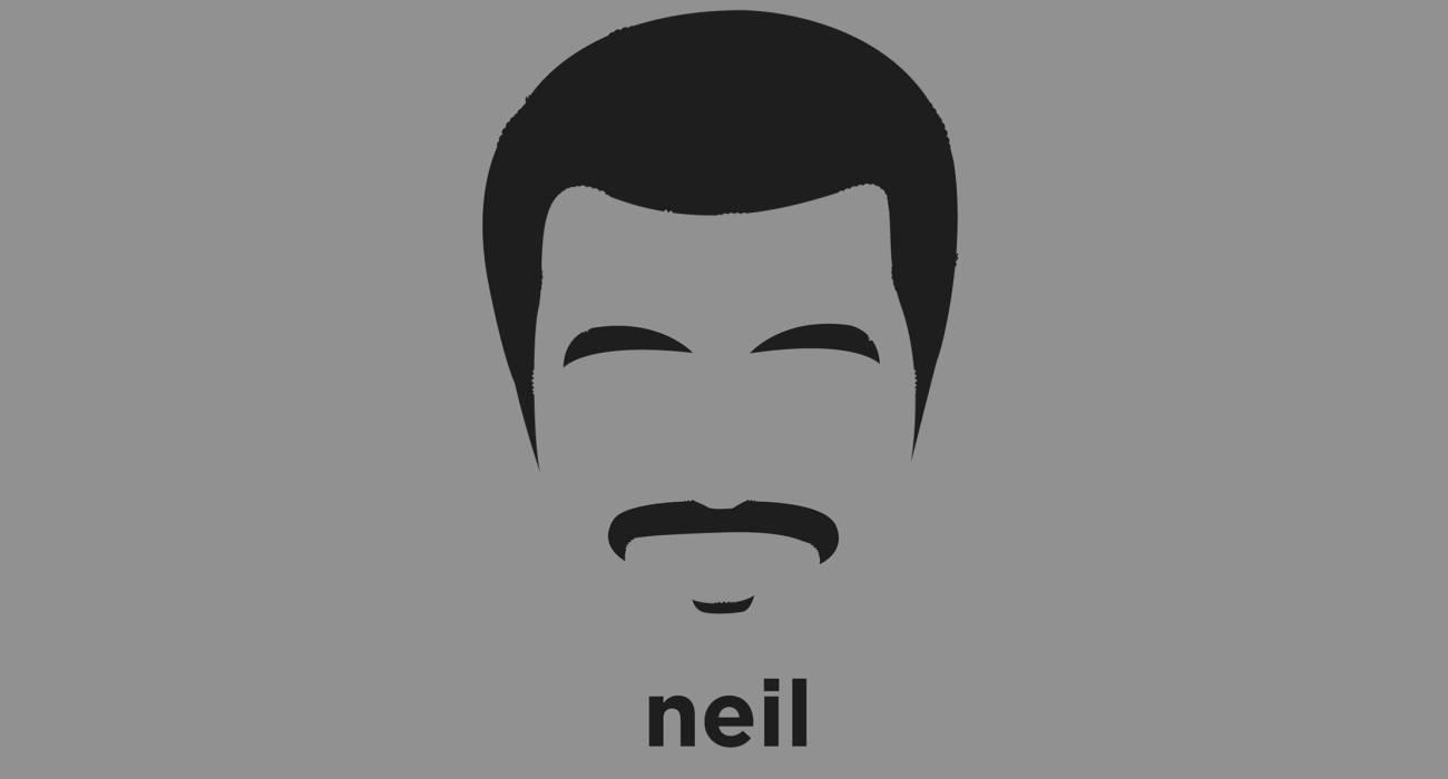 A t-shirt with a minimalist hair based illustration of  Neil deGrasse Tyson: astrophysicist and science communicator, Director of the Hayden Planetarium and associate in the department of astrophysics at the American Museum of Natural History