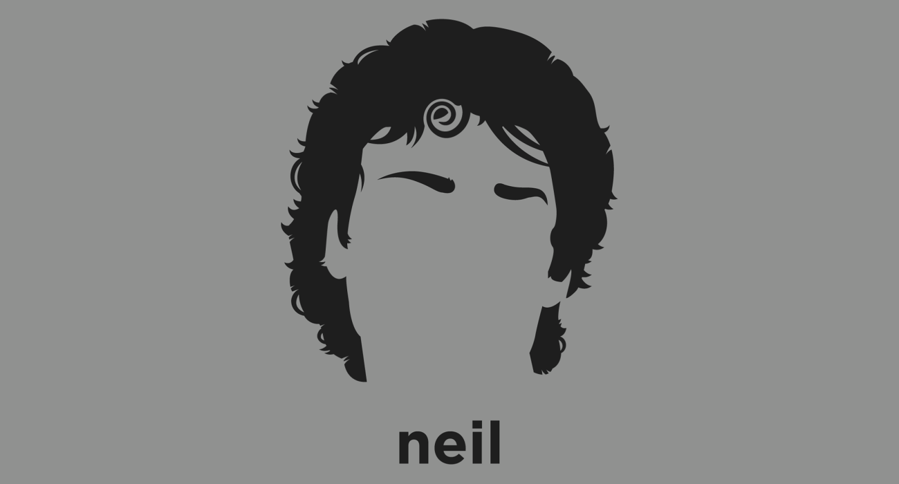A t-shirt with a minimalist hair based illustration of Neil Gaiman: British fantasy author whose notable works include the comic book series The Sandman and novels Stardust, American Gods, and Coraline